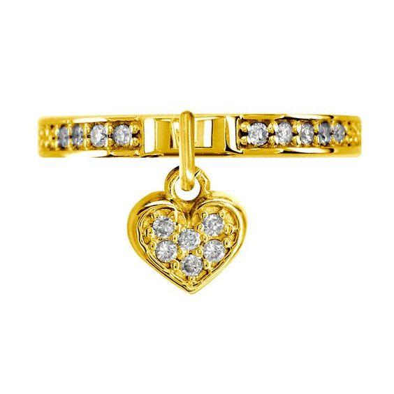 Diamond Heart Charm Ring in 14k Yellow Gold 020CT Sziro Jewelry