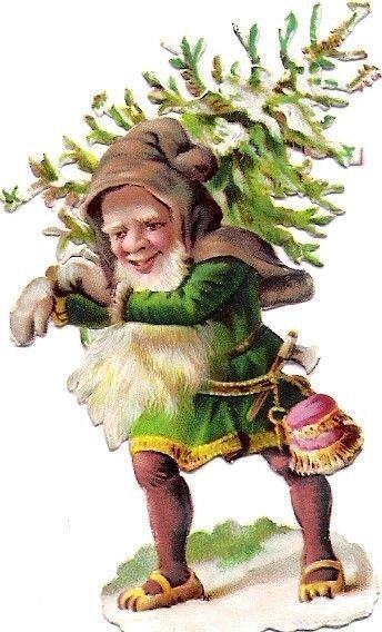 Oblaten Glanzbild scrap Zwerg  7,2cm Wichtel Winter XMAS gnome Schnee Weihnacht: