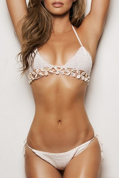 Halter Scallop Shape Knitted Bikini Set WHITE: Swimwear | ZAFUL