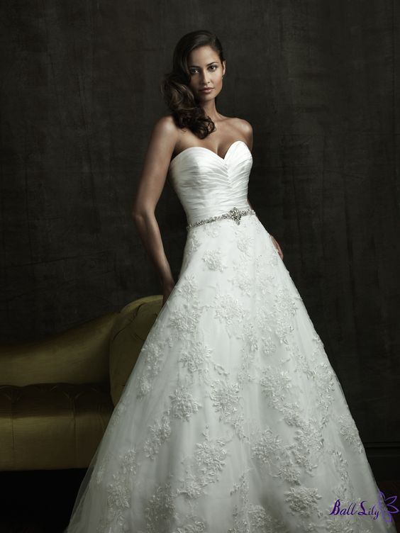 www.balllily.com $286 Empire Gown Strapless Sweetheart Neckline Wedding Dress WDMB012