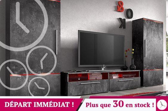 Ensemble meuble TV design effet béton ciré avec éclairage LED en option BAILA 3