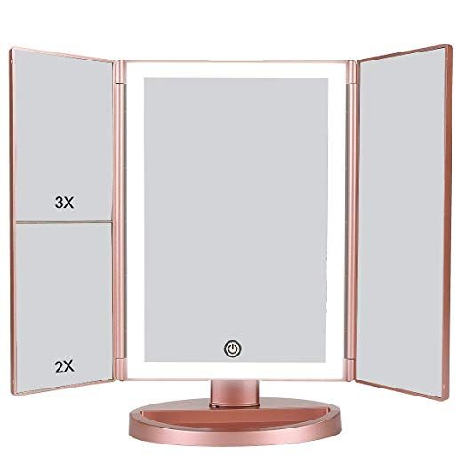 Dahomi Tri Fold Lighted Vanity Makeup Mirror With 1x 2x 3x