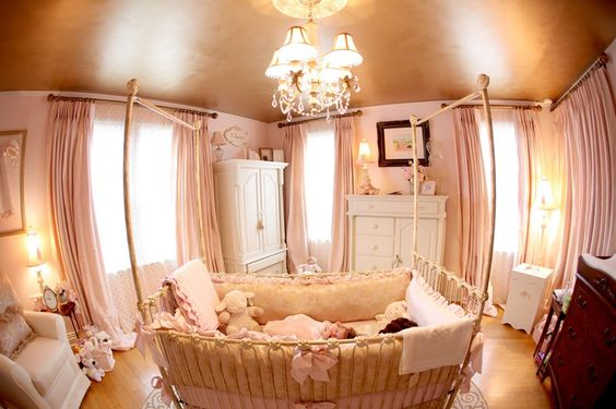 pink and gold nursery-fancy