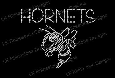 Hornet with Your Team Name Iron On Rhinestone Transfer