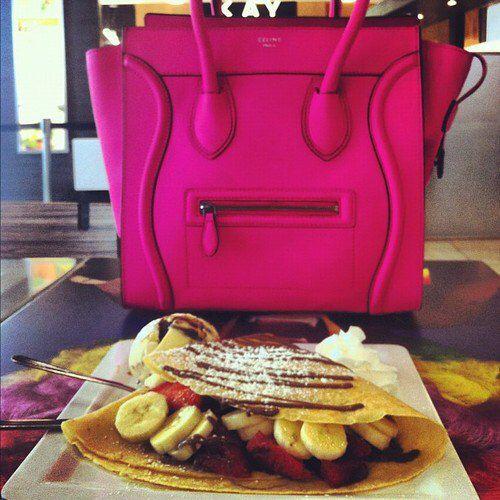 Image via We Heart It https://weheartit.com/entry/142476390 #bag #celine #eat #good #pink #strawberry #yum