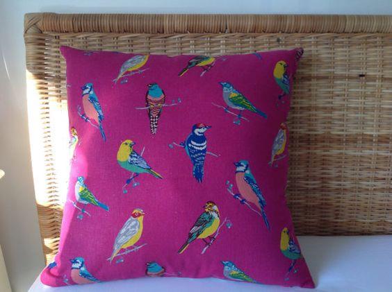 Birdie cushion 20 sq. by rosiestar on Etsy, $54.00