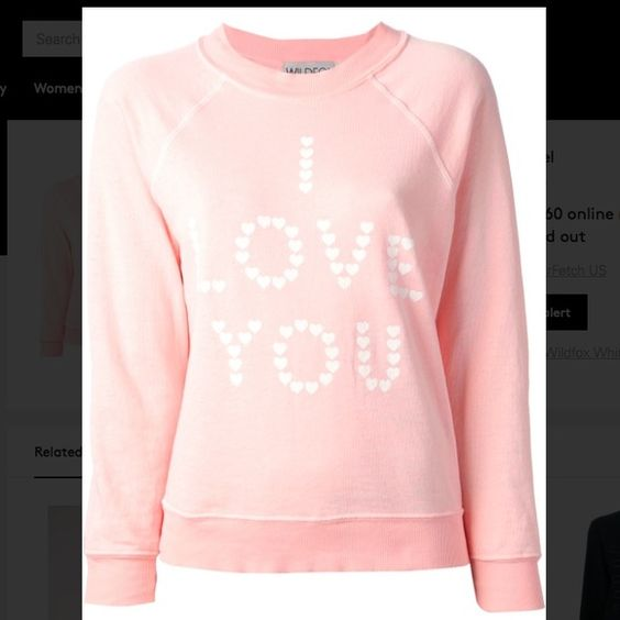 Wildfox I LOVE YOU sweatshirt Pink heart print 'I Love You' sweatshirt. Previously loved, in great condition. ❌no trades, price firm❌ Wildfox Tops Sweatshirts & Hoodies