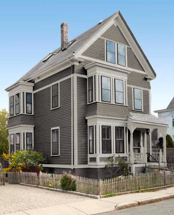 Beautiful home colors colour scheme medium grey house - Valspar exterior paint color ideas ...
