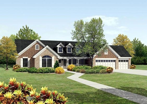 Cape cod country ranch traditional house plan 95812 3 for Traditional ranch homes
