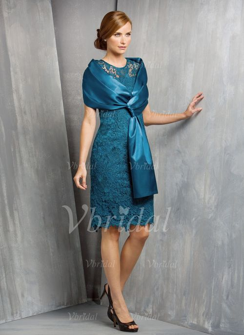 Mother of the Bride Dresses - $115.94 - Sheath/Column Scoop Neck Knee-Length Lace Mother of the Bride Dress (0085092615)