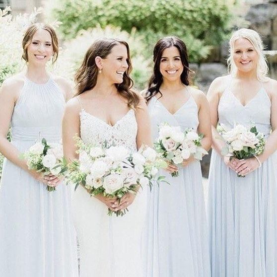 Mix Match Bridesmaid Dresses In Cloudy Blue By Dessy 2969 3021 Dessy Bridesmaid Dresses Bridesmaid Dessy Bridesmaid