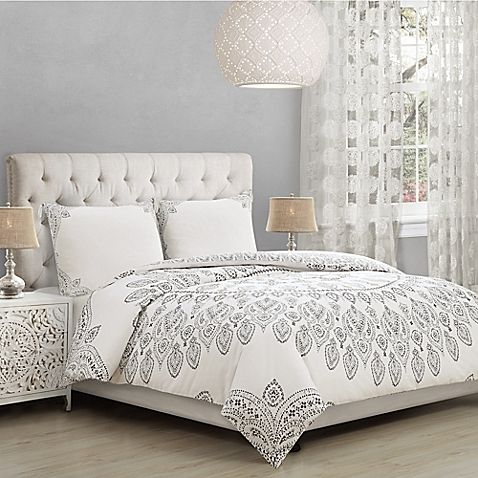 Ahania Twin Twin Xl Comforter Set In Ivory Black Bed Linens