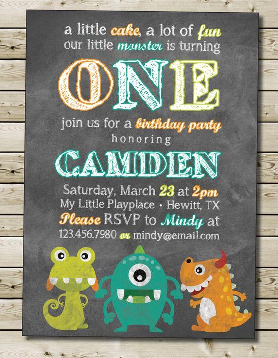 Friendly Monster Birthday Invitation Boy or Girl Birthday Party Invitation Color Chalkboard Theme with Photo Option 5x7 - Custom Printable on Etsy, $12.00