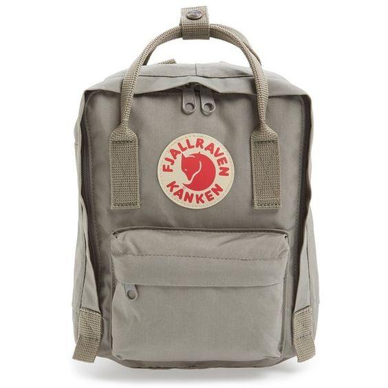 Fjällräven 'Mini Kånken' Water Resistant Backpack ($60) ❤ liked on Polyvore featuring bags, backpacks, fog, fjallraven backpack, strap bag, brown backpack, fjallraven rucksack and backpacks bags