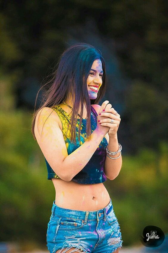 Happy Holi 2021 - Beautiful Girl with Holi Colors