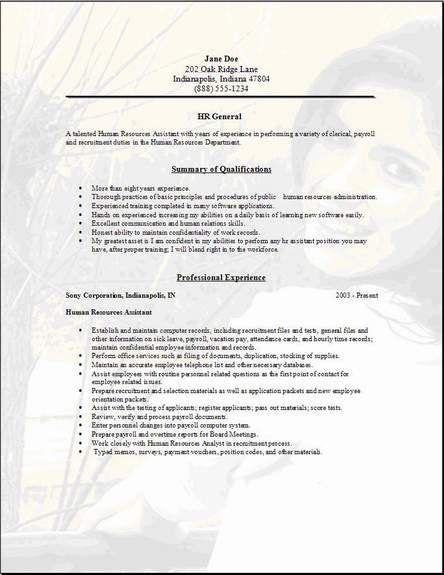 general resume examples