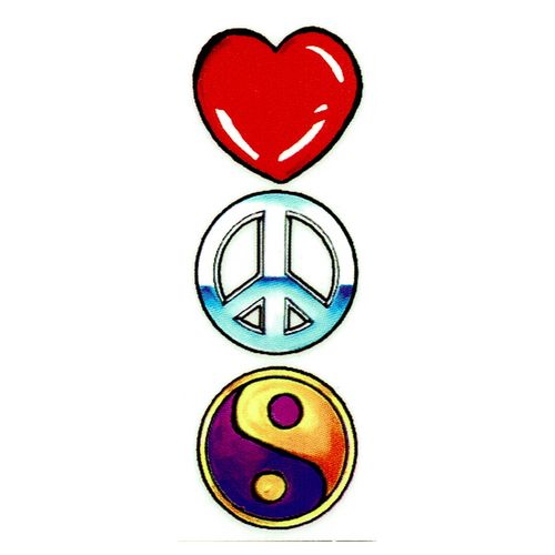 Sticker Peace Love Happiness w// PINK Heart Car Decal