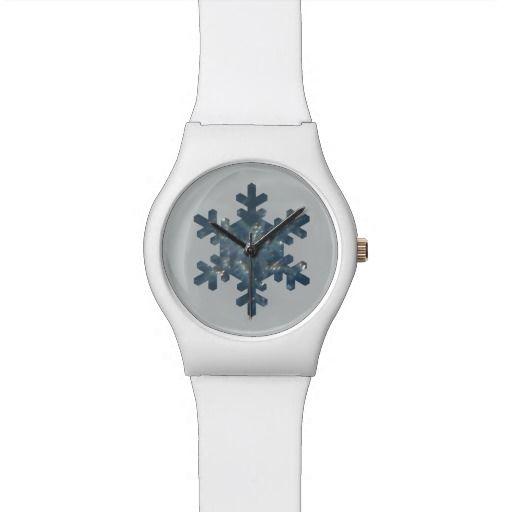 Single Bluish Snowflake Shape White Watch