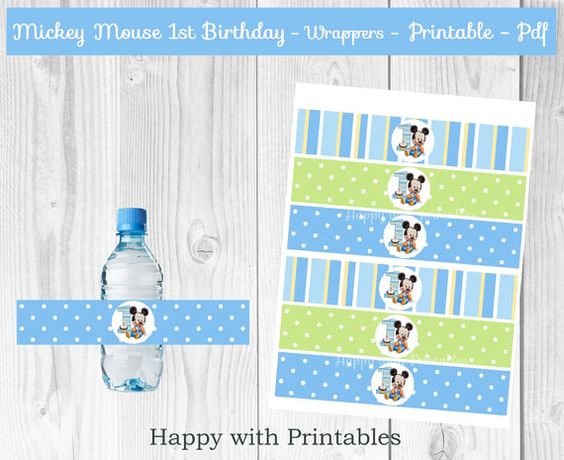 Mickey Mouse 1st bday Bottle Wrappers Baby by HappywithPrintables