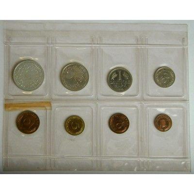 Bundesrepublik Deutschland, Kursmünzensatz 1966, J, PP: Kursmünzensatz 1966 J. Polierte Platte, Folder l. beschädigt 620,00€ #coins