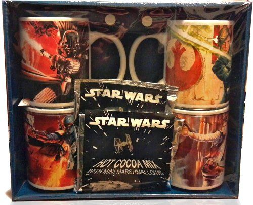 STAR WARS Collectible Mug Gift Set -  Each mug features an action image of Darth Vader, Luke Skywalker, Han Solo and Boba Fett. The package also contains Star Wars branded hot cocoa mix with mini-marshmallows (2 packages).