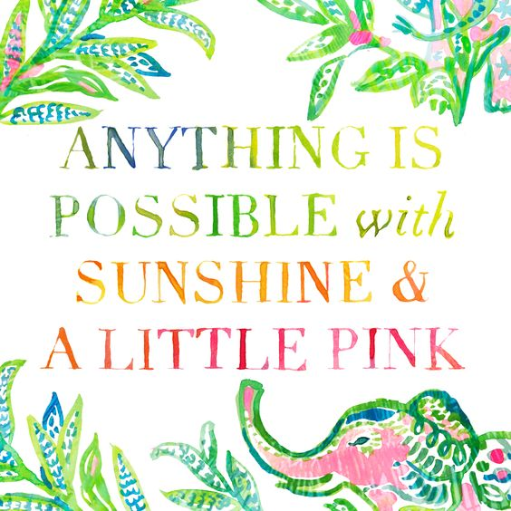 """Anything is possible with sunshine and a little pink."" @LillyPulitzer:"
