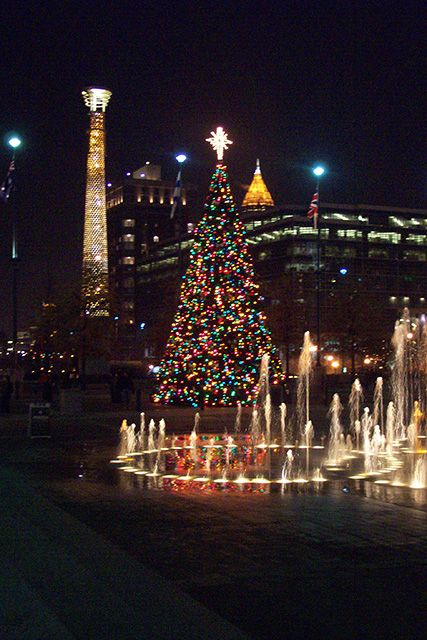 Visit the Centennial Olympic Park in Atlanta, GA for a viewing of the cities beautiful area filling with holiday lights