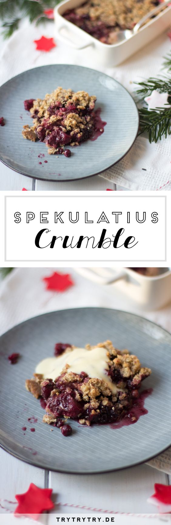 Rezept für Weihnachts-Spekulatius Crumble mit Beeren. Das perfekte Dessert für Weihnachten
