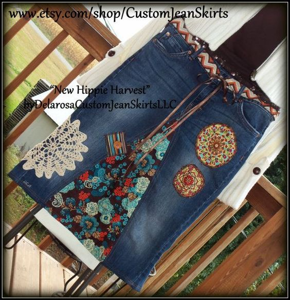 handmade jean skirts | New Hippie Harvest Jean Skirt with handmade fo ... | Delarosa Custom ...