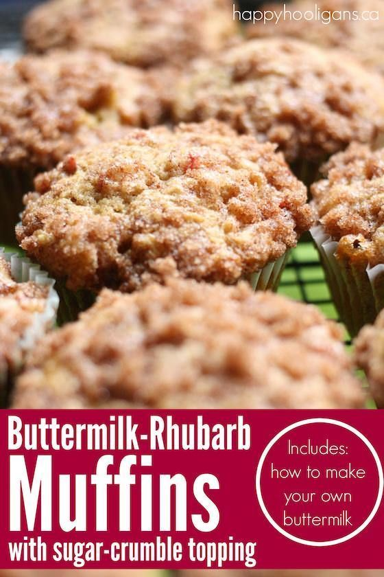 Buttermilk Rhubarb Muffins With A Sugar Crumble Topping Recipe Rhubarb Muffins Rhubarb Recipes Buttermilk Recipes