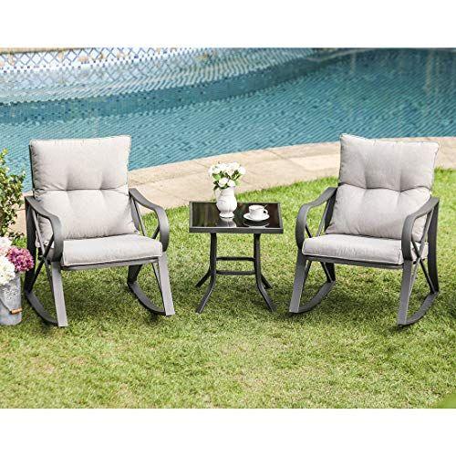 Cosiest 3 Piece Outdoor Patio Furniture Dark Gray Rocking Chairs