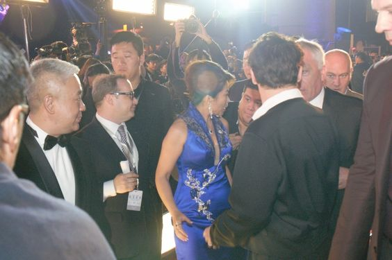 Me on the red carpet...that's Johnny with his back to the camera