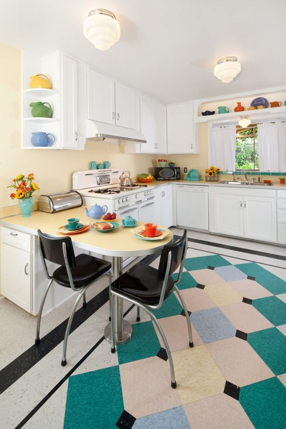 vintage kitchen. Great renovation done of the kitchen built in the 40s. Retro without being kitschy.