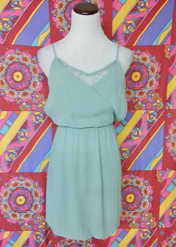 Forever 21 Sage Green Lacey Draped Elastic Waist Rayon Crinkle Sundress M!! #FOREVER21 #Sundress #Casual