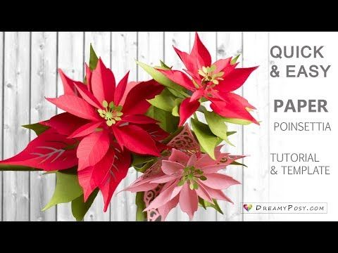 Paper Poinsettia Tutorial And Template Youtube Paper Flowers Paper Flower Tutorial Crepe Paper Flowers Tutorial