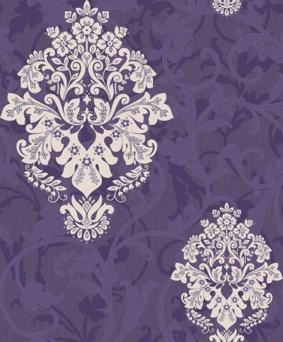 Arabesque (M0586) - Crown Wallpapers - A mid scaled floral damask motif overlaid on a textured background with a pretty raised matt and gloss leaf trail. Showing in cream on purple with silver highlights.