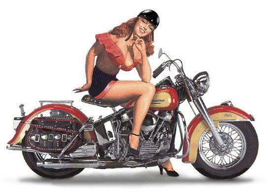 Hot rod pin up girl on harley