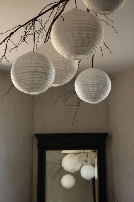 Suspension nature lampe boule papier de riz d co - Lustre en papier ...