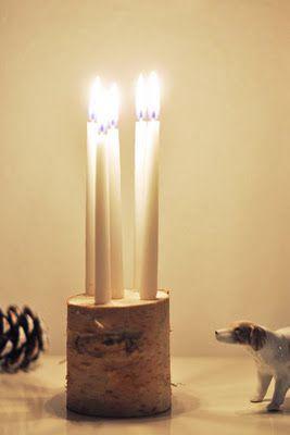 Birch candle holder