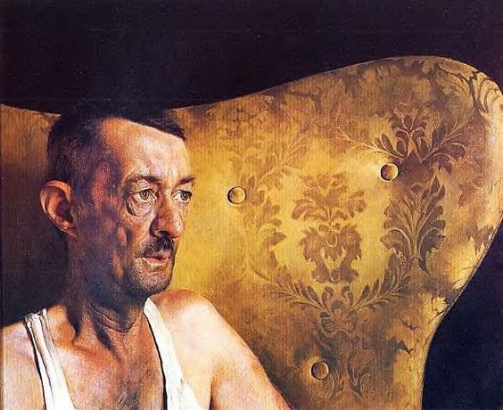 I like the juxtaposition of singlet & ornate pattern of chair. There's a story to tell. Jamie Wyeth, Portrait of Shorty: