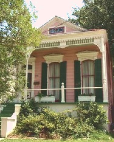 Precious pink shotgun house, New Orleans. Driven past it many times <3