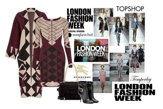 """2016 london fashion week"" by vaughnroyal ❤ liked on Polyvore featuring Temperley London, Burberry, Topshop Unique, Topshop, women's clothing, women, female, woman, misses and juniors"