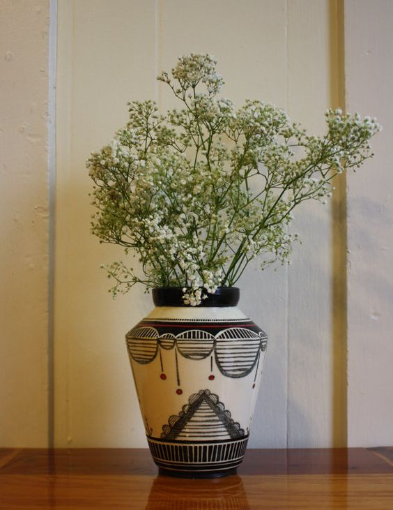 Sgraffito and hand drawn vase with red by InscriptionalWares, $70.00