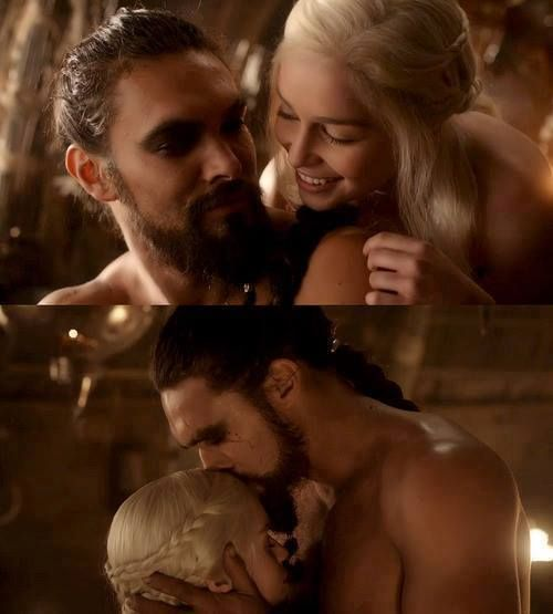 Daenerys Targaryen  Khal Drogo.  The look he gives the Khaleesi is sooooooooo romantic.: