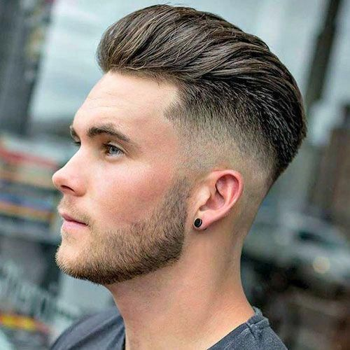 Long Brushed Back Hair Mid Bald Fade Menshairstylesthickhair Young Men Haircuts Young Mens Hairstyles Long Hair Styles Men
