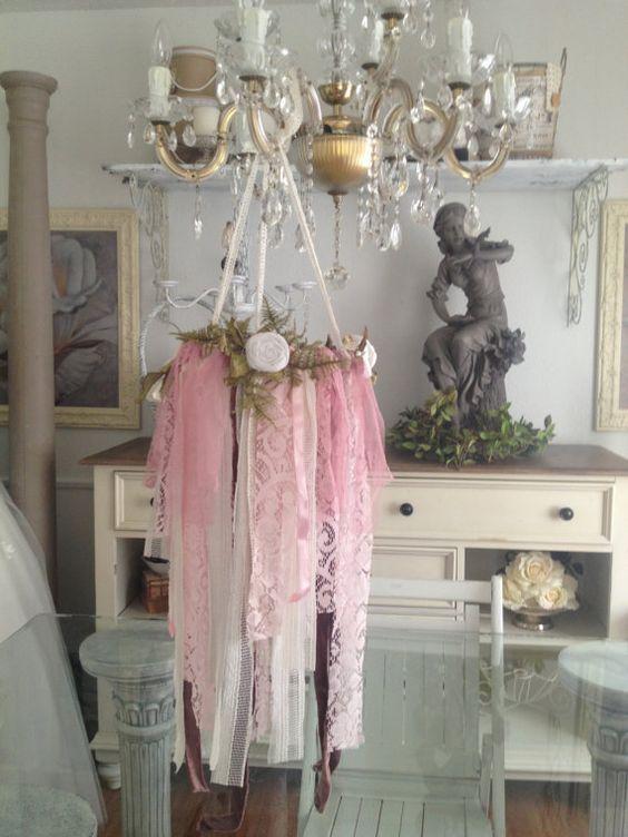 Rustic wedding decor, vintage lace chandelier, shabby chic wedding ...