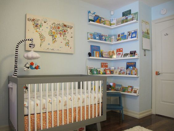 Orange, Gray & Turquoise Wanderlust Nursery - can't get enough of the corner bookshelves!