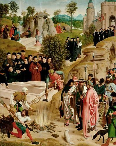 Altniederländisch  Künstler: Geertgen tot Sint Jans um 1460/65 Leiden (?) - nach 1490 Haarlem  Gemälde:  Schicksal der irdischen Überreste Johannes d. Täufers ab 1484  Eichenholz  oben beschnitten:  172 x 139 cm