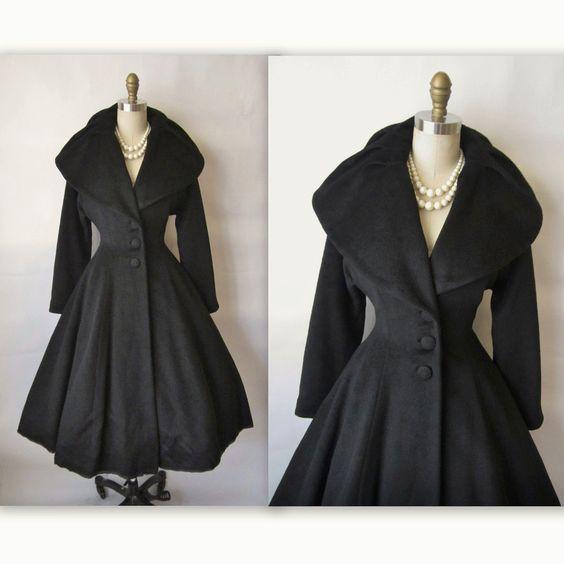 50&39s Lilli Ann Coat // Vintage 1950&39s Lilli Ann New Look Black