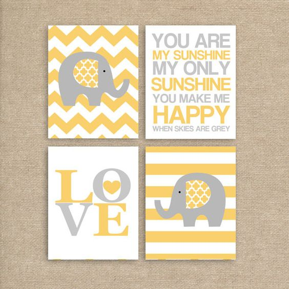 Elephant Art Nursery Printable Art Yellow by MooseberryPrintables, $20.00